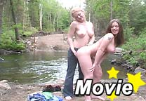 Pretty teen lesbians fooling around and teasing in the woods from Christine Young
